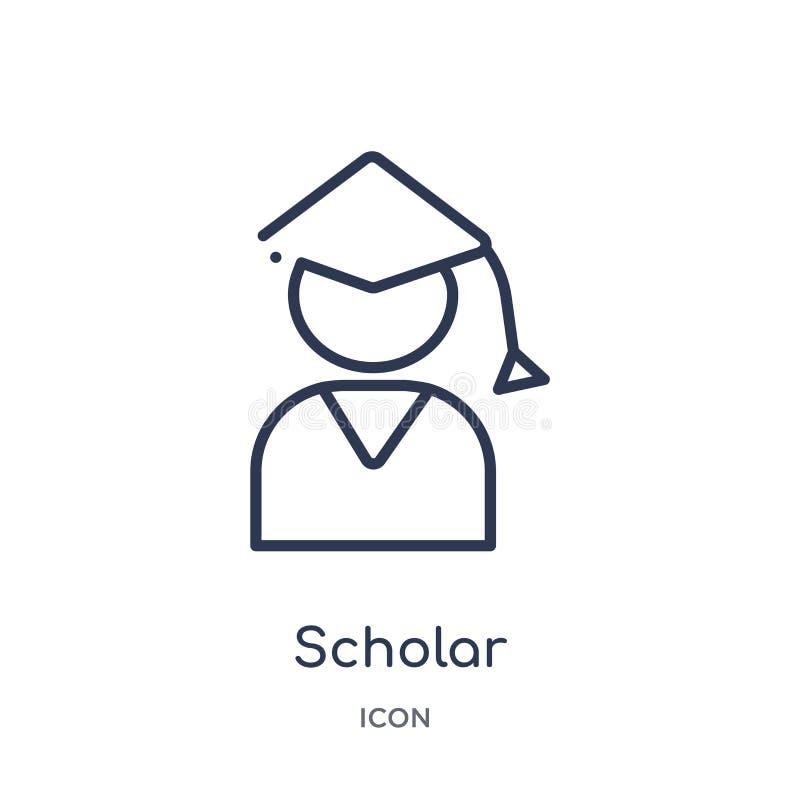 Icône linéaire de chercheur de collection d'ensemble d'éducation Ligne mince icône de chercheur d'isolement sur le fond blanc che illustration stock