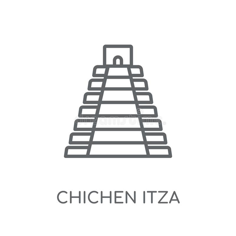 Icône linéaire de Chichen Itza Conce moderne de logo de Chichen Itza d'ensemble illustration de vecteur