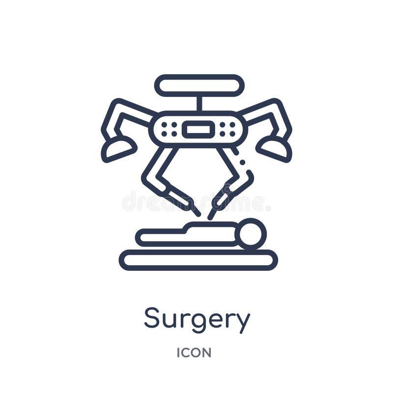 Icône linéaire de chirurgie de la future collection d'ensemble de technologie Ligne mince icône de chirurgie d'isolement sur le f illustration de vecteur