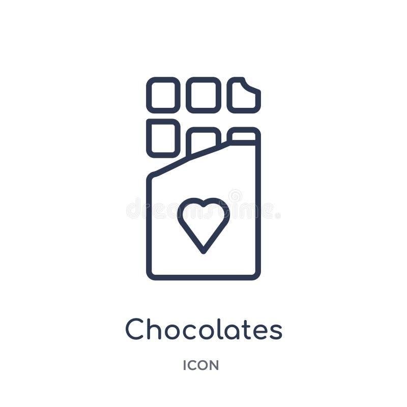 Icône linéaire de chocolats de collection d'ensemble de fête d'anniversaire La ligne mince chocolats dirigent d'isolement sur le  illustration libre de droits