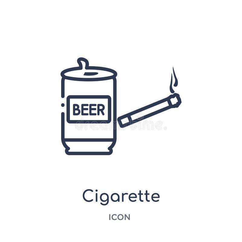 Icône linéaire de cigarette de collection d'ensemble d'alcool Ligne mince vecteur de cigarette d'isolement sur le fond blanc ciga illustration de vecteur