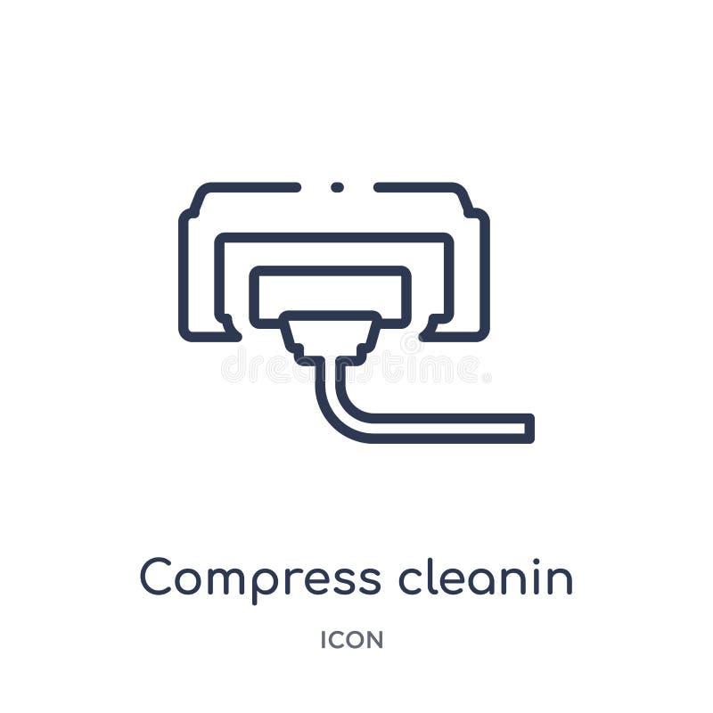 Icône linéaire de cleanin de compresse de la collection de nettoyage d'ensemble Ligne mince vecteur de cleanin de compresse d'iso illustration stock
