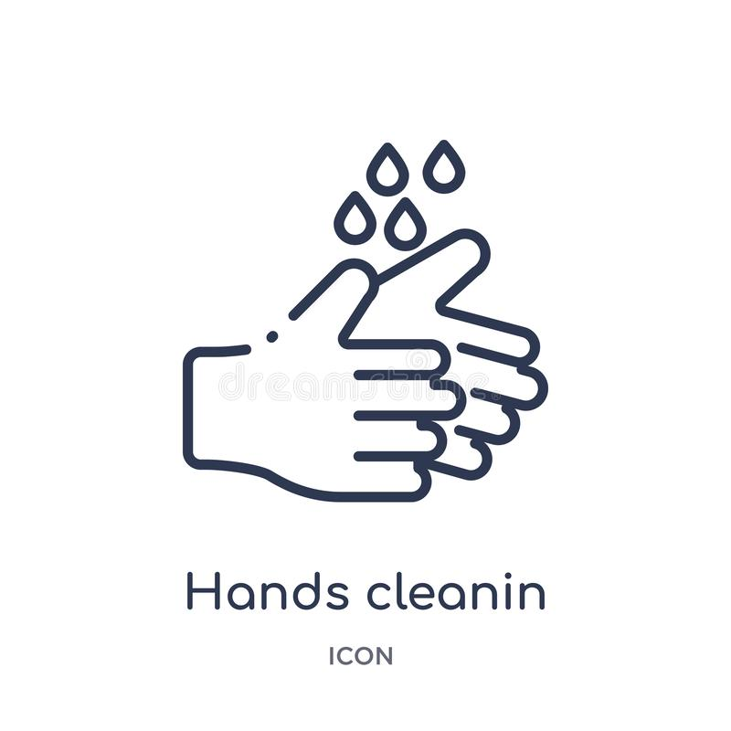 Icône linéaire de cleanin de mains de la collection de nettoyage d'ensemble La ligne mince cleanin de mains dirigent d'isolement  illustration de vecteur