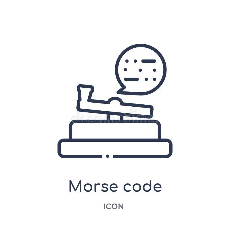 Icône linéaire de code Morse de collection d'ensemble de Comunation Ligne mince vecteur de code Morse d'isolement sur le fond bla illustration libre de droits