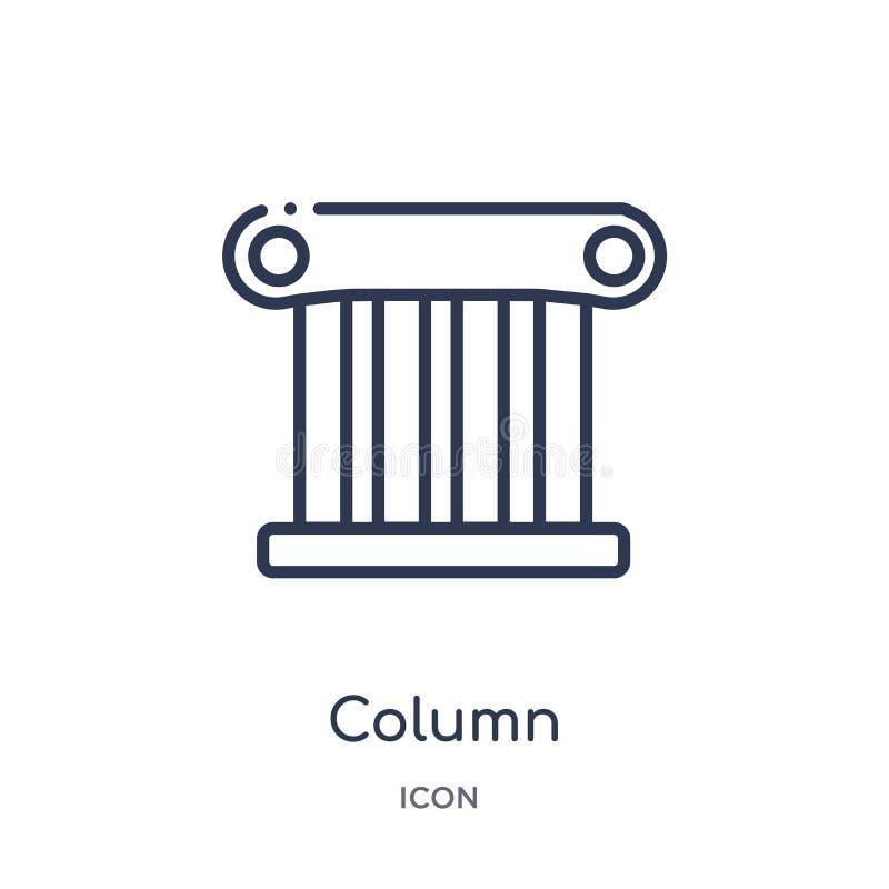 Icône linéaire de colonne de collection d'ensemble d'histoire Ligne mince icône de colonne d'isolement sur le fond blanc illustra illustration libre de droits