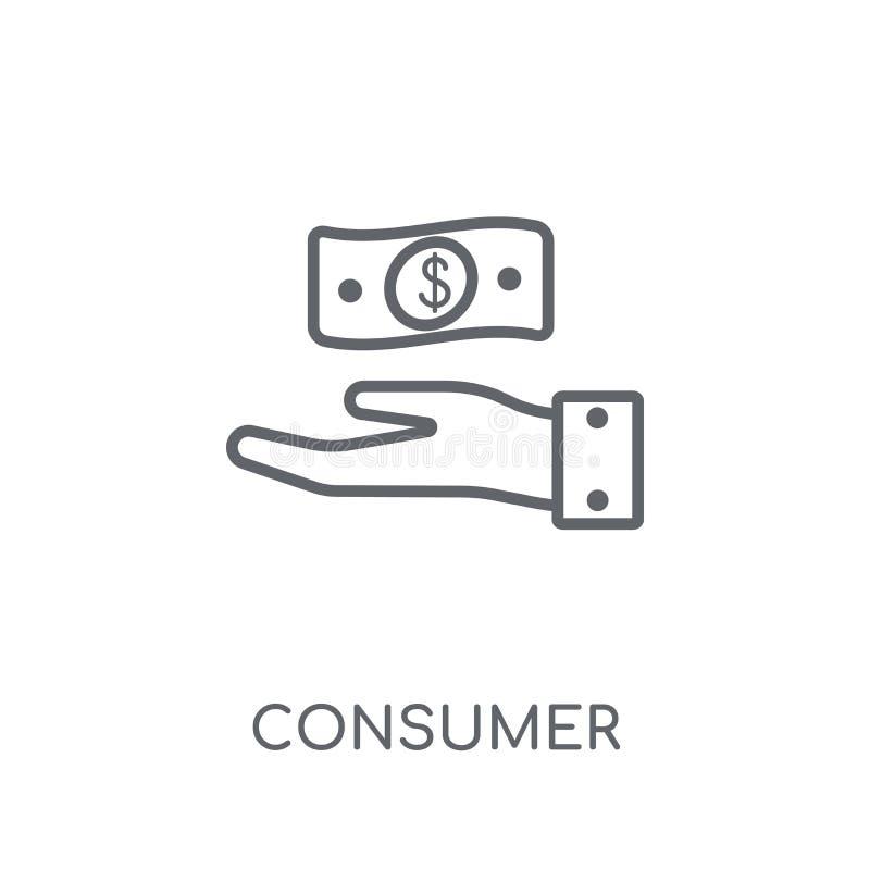 Icône linéaire de confiance du consommateur Le consommateur moderne d'ensemble confient illustration libre de droits
