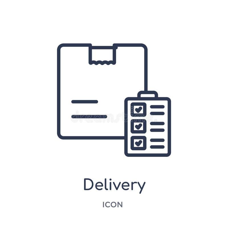 Icône linéaire de conteneurs de livraison de la livraison et de la collection logistique d'ensemble La ligne mince conteneurs de  illustration stock
