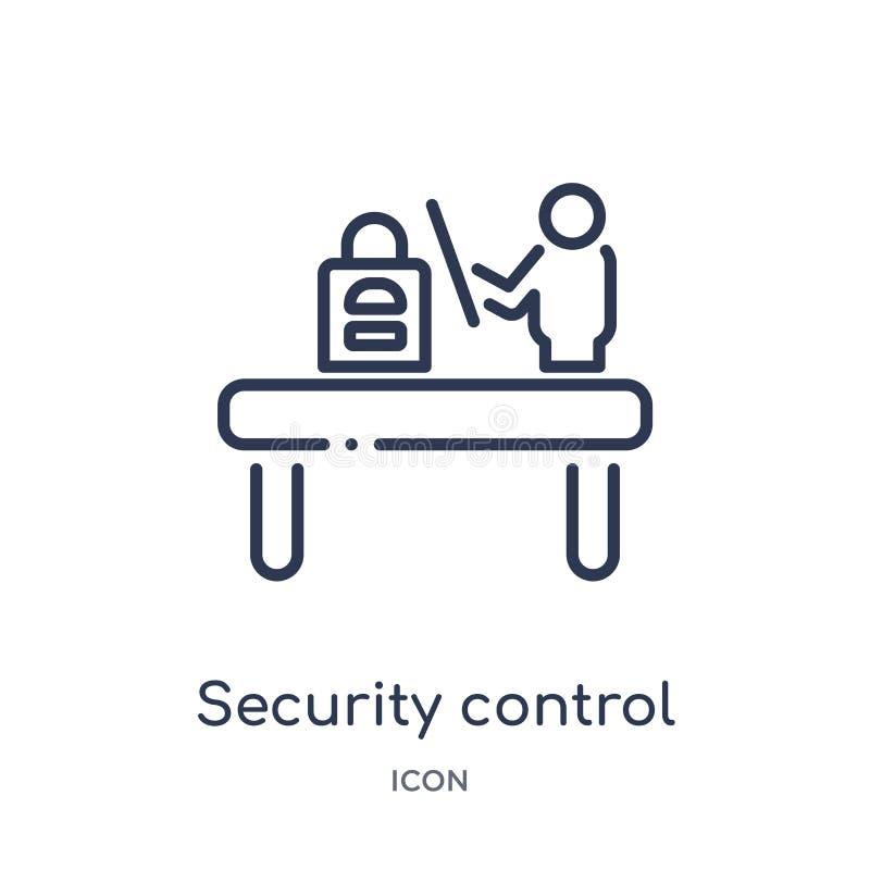 Icône linéaire de contrôle de sécurité de collection d'ensemble de terminal d'aéroport Ligne mince vecteur de contrôle de sécurit illustration libre de droits