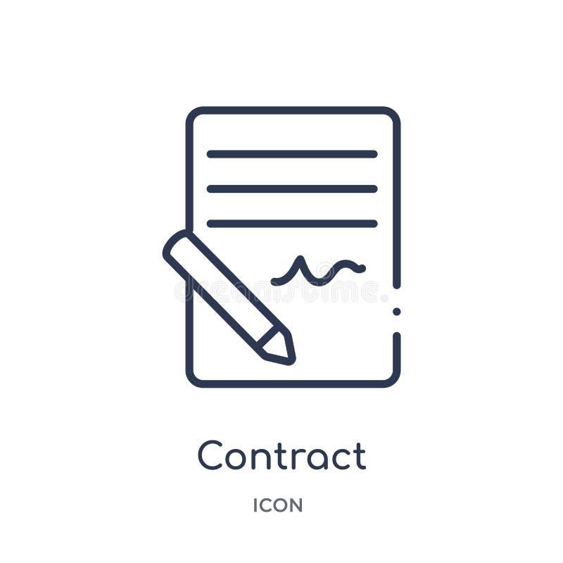 Icône linéaire de contrat de collection d'ensemble de ressources humaines Ligne mince icône de contrat d'isolement sur le fond bl illustration stock