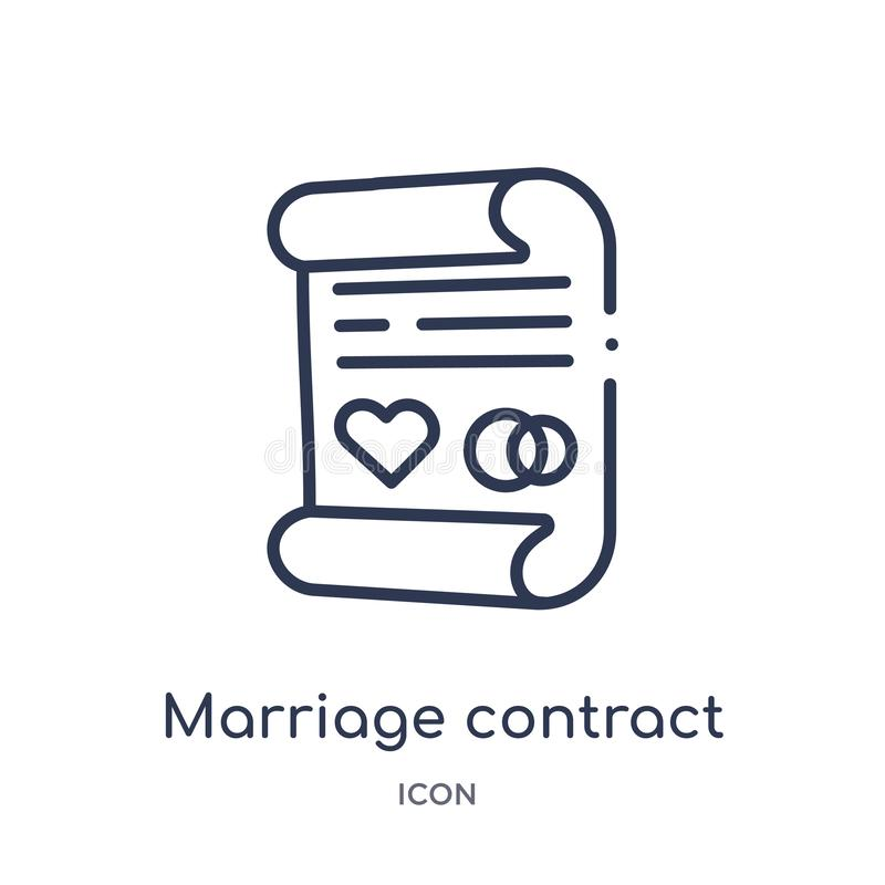 Icône linéaire de contrat de mariage de collection d'ensemble d'assurance Ligne mince icône de contrat de mariage d'isolement sur illustration de vecteur