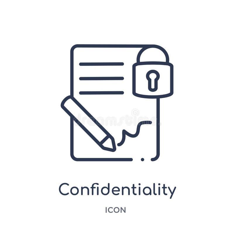 Icône linéaire de convention de confidentialité de collection d'ensemble de ressources humaines La ligne mince icône de conventio illustration stock