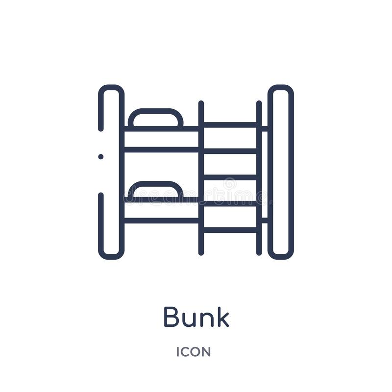 Icône linéaire de couchette de collection d'ensemble d'hôtel Ligne mince icône de couchette d'isolement sur le fond blanc illustr illustration libre de droits
