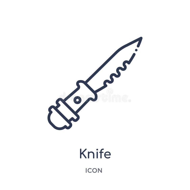 Icône linéaire de couteau de collection d'ensemble d'armée et de guerre Ligne mince vecteur de couteau d'isolement sur le fond bl illustration stock