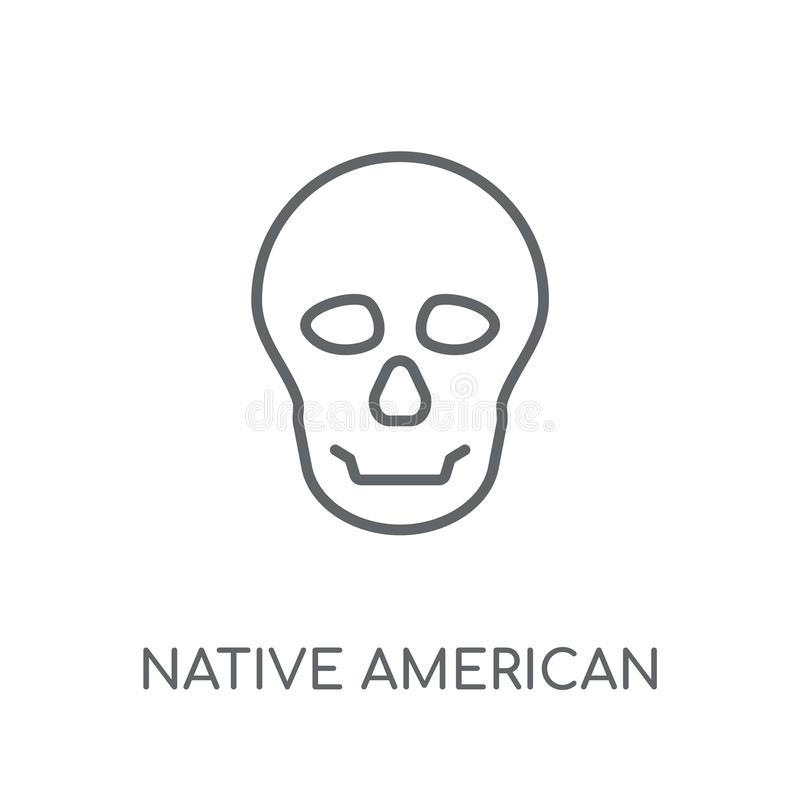 Icône linéaire de crâne de natif américain Contour moderne Amérique indigène illustration de vecteur