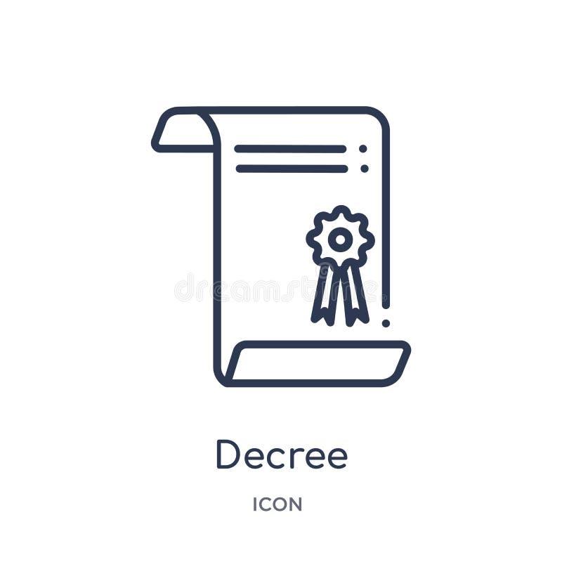 Icône linéaire de décret de collection d'ensemble de gestes Ligne mince icône de décret d'isolement sur le fond blanc décret à la illustration libre de droits