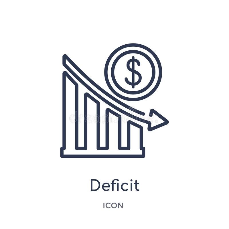 Icône linéaire de déficit de collection d'ensemble d'affaires Ligne mince icône de déficit d'isolement sur le fond blanc déficit  illustration de vecteur