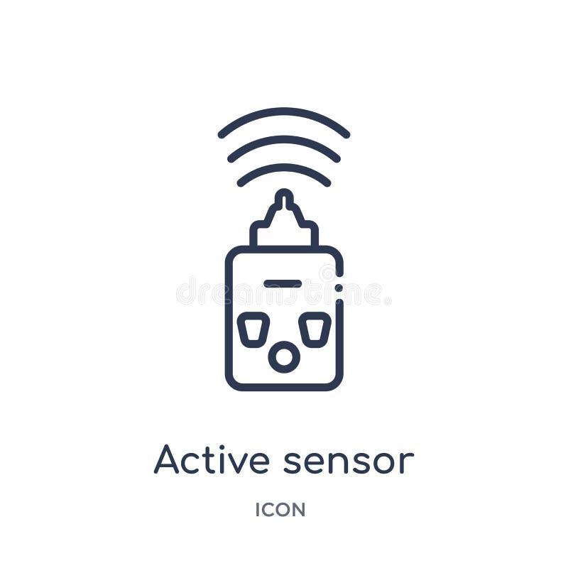 Icône linéaire de détecteur actif de collection d'ensemble général Ligne mince icône de détecteur actif d'isolement sur le fond b illustration libre de droits