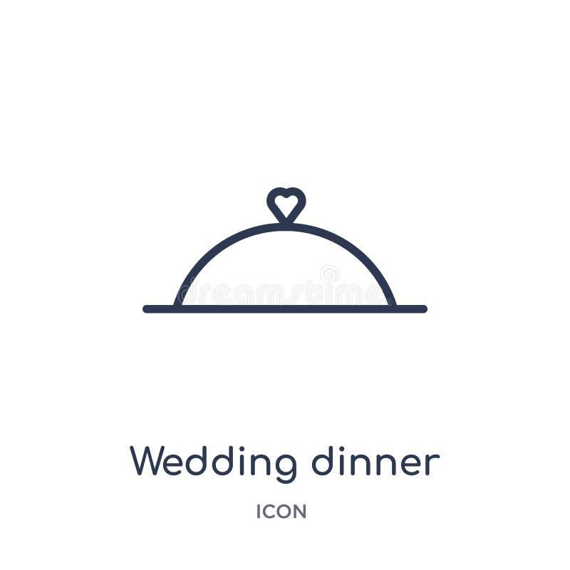Icône linéaire de dîner l'épousant de collection d'ensemble de fête d'anniversaire Ligne mince vecteur de dîner de mariage d'isol illustration stock