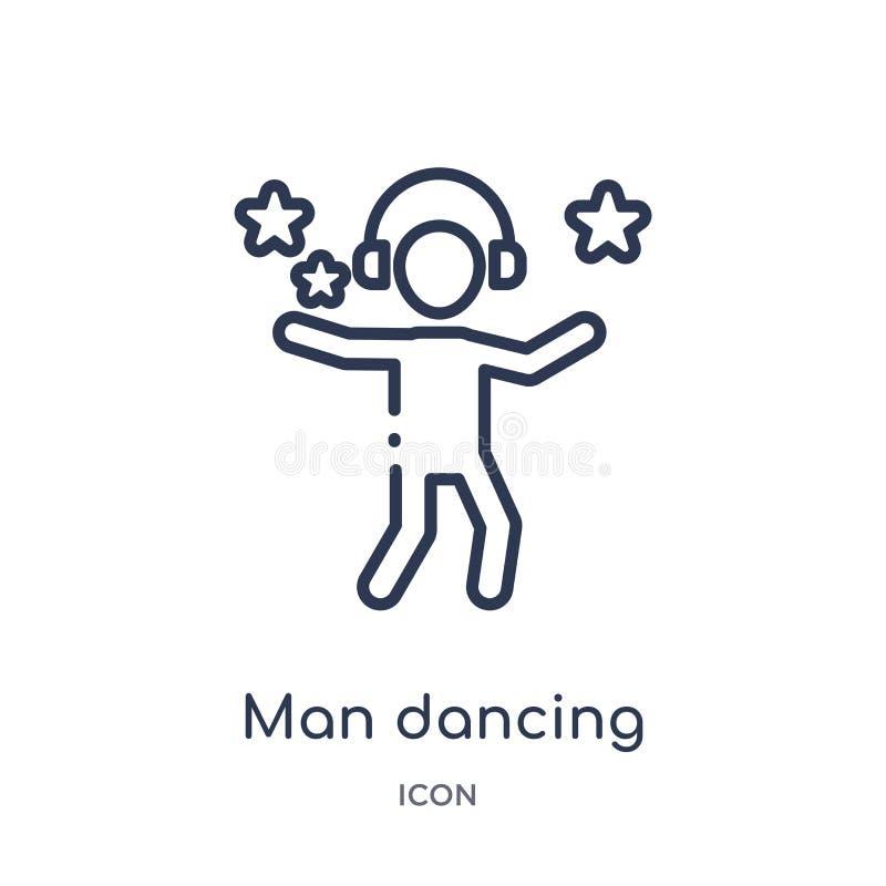 Icône linéaire de danse d'homme de collection d'ensemble d'humains Ligne mince icône de danse d'homme d'isolement sur le fond bla illustration libre de droits