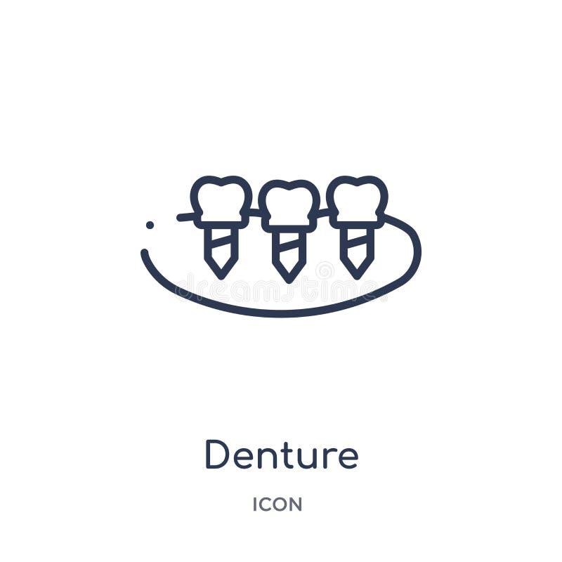 Icône linéaire de dentier de collection d'ensemble de dentiste Ligne mince icône de dentier d'isolement sur le fond blanc dentier illustration de vecteur