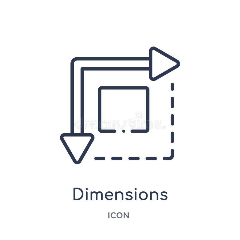 Icône linéaire de dimensions de collection d'ensemble de la géométrie Ligne mince icône de dimensions d'isolement sur le fond bla illustration libre de droits