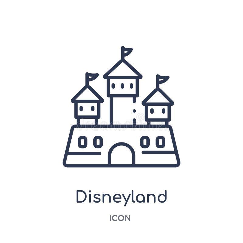 Icône linéaire de Disneyland de divertissement et de collection d'ensemble d'arcade Ligne mince vecteur de Disneyland d'isolement illustration de vecteur