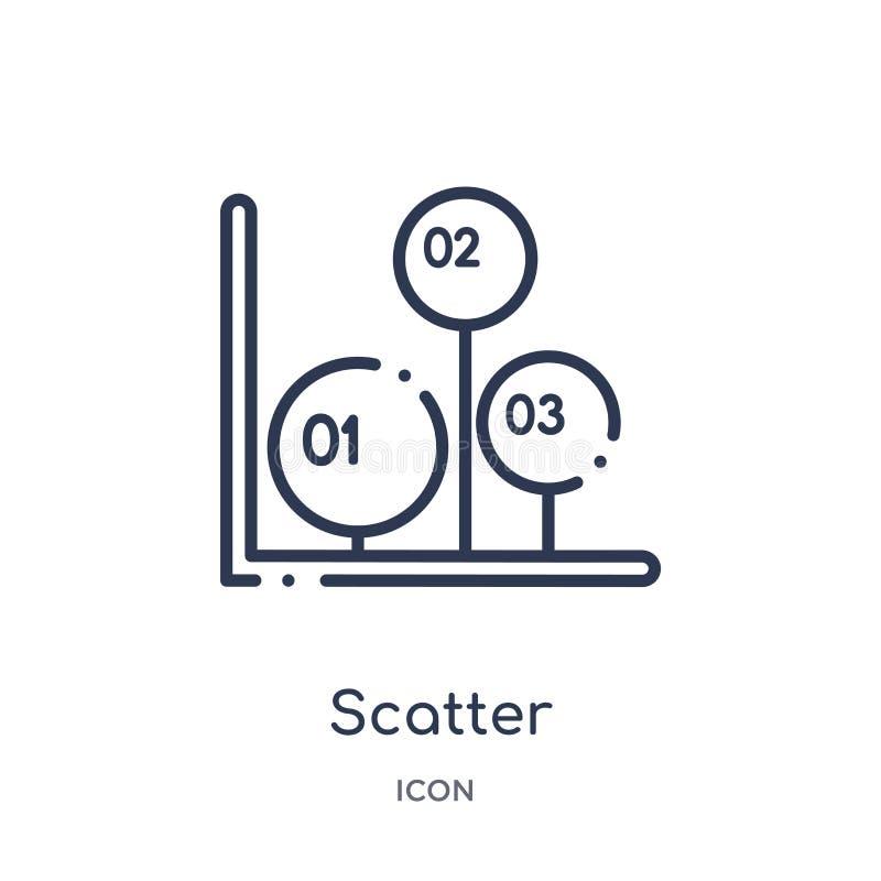 Icône linéaire de dispersion de collection d'ensemble d'Infographics Ligne mince icône de dispersion d'isolement sur le fond blan illustration stock