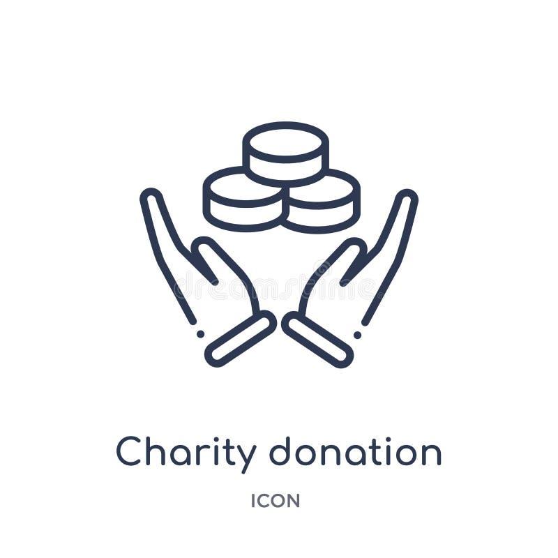 Icône linéaire de donation de charité de collection d'ensemble de gestes Ligne mince icône de donation de charité d'isolement sur illustration de vecteur