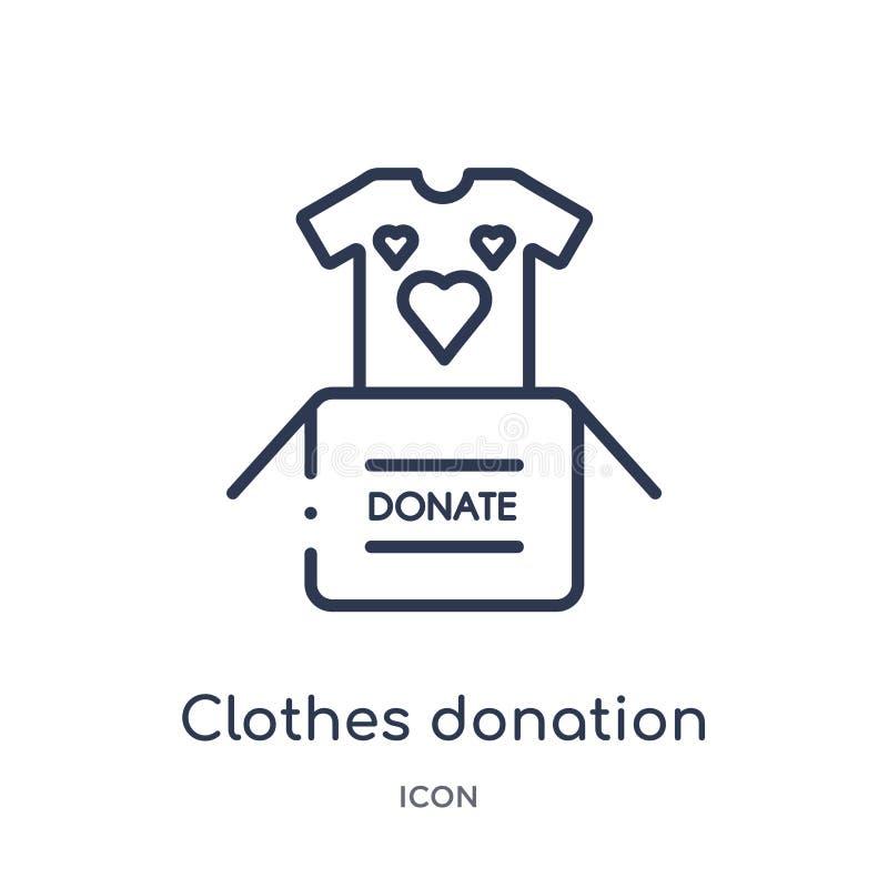 Icône linéaire de donation de vêtements de collection d'ensemble de charité Ligne mince vecteur de donation de vêtements d'isolem illustration de vecteur