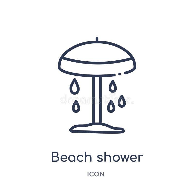 Icône linéaire de douche de plage d'architecture et de collection d'ensemble de voyage Ligne mince vecteur de douche de plage d'i illustration stock