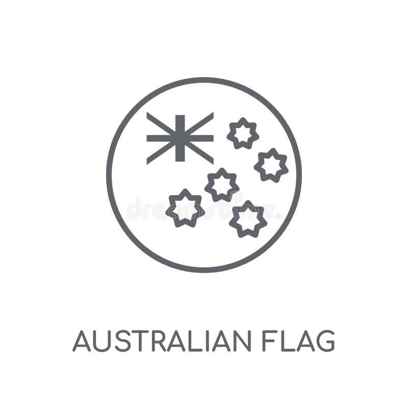 Icône linéaire de drapeau australien Logo australien de drapeau d'ensemble moderne illustration de vecteur