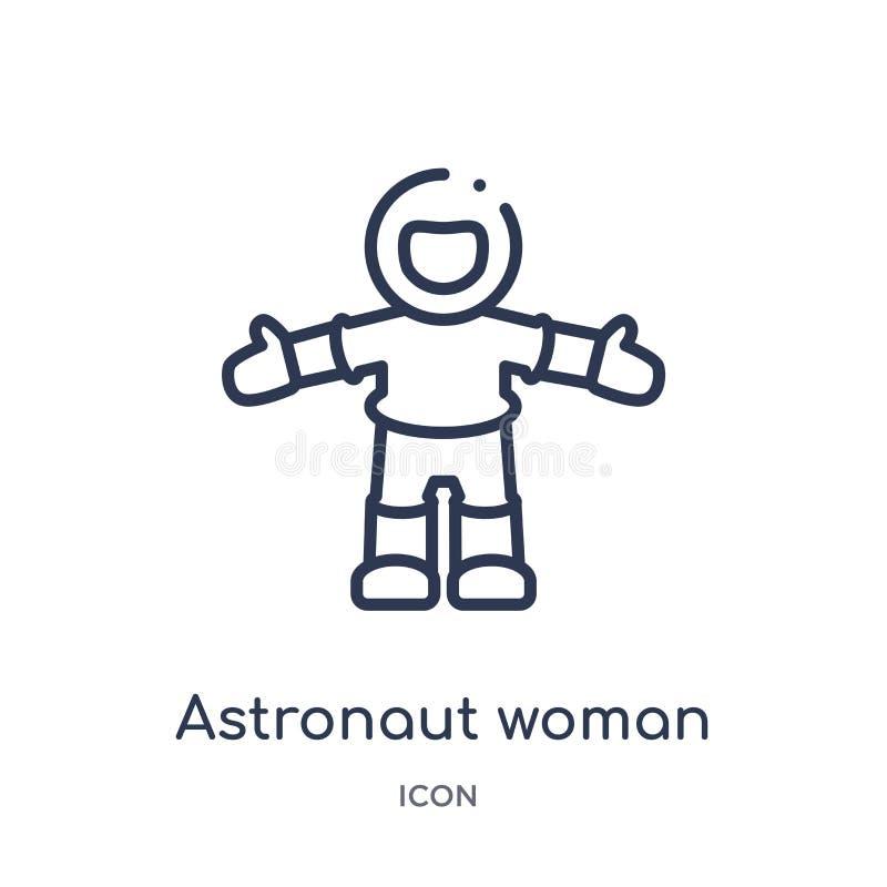 Icône linéaire de femme d'astronaute de collection d'ensemble de dames Ligne mince icône de femme d'astronaute d'isolement sur le illustration libre de droits