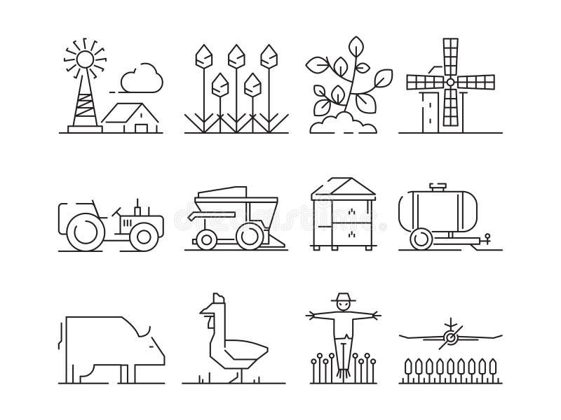 Icône linéaire de ferme Vecteur de symboles de blé de champs de village de nature d'Agricultura d'isolement illustration de vecteur