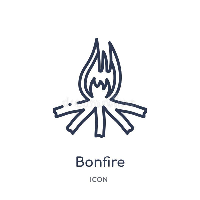 Icône linéaire de feu de la collection campante d'ensemble Ligne mince vecteur de feu d'isolement sur le fond blanc feu à la mode illustration libre de droits