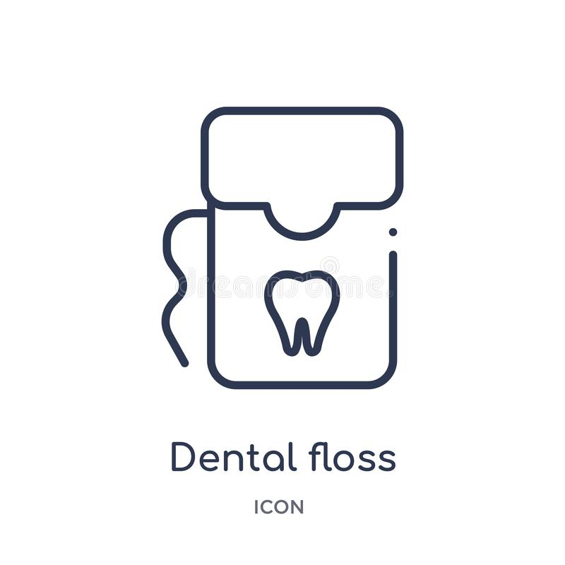 Icône linéaire de fil dentaire de collection d'ensemble de dentiste Ligne mince icône de fil dentaire d'isolement sur le fond bla illustration de vecteur