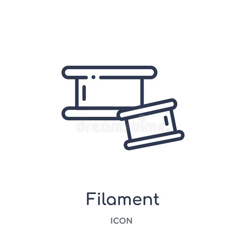 Icône linéaire de filament de collection d'ensemble général Ligne mince icône de filament d'isolement sur le fond blanc filament  illustration de vecteur