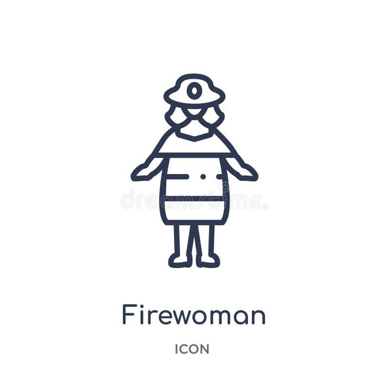 Icône linéaire de firewoman de collection d'ensemble de dames Ligne mince icône de firewoman d'isolement sur le fond blanc firewo illustration libre de droits