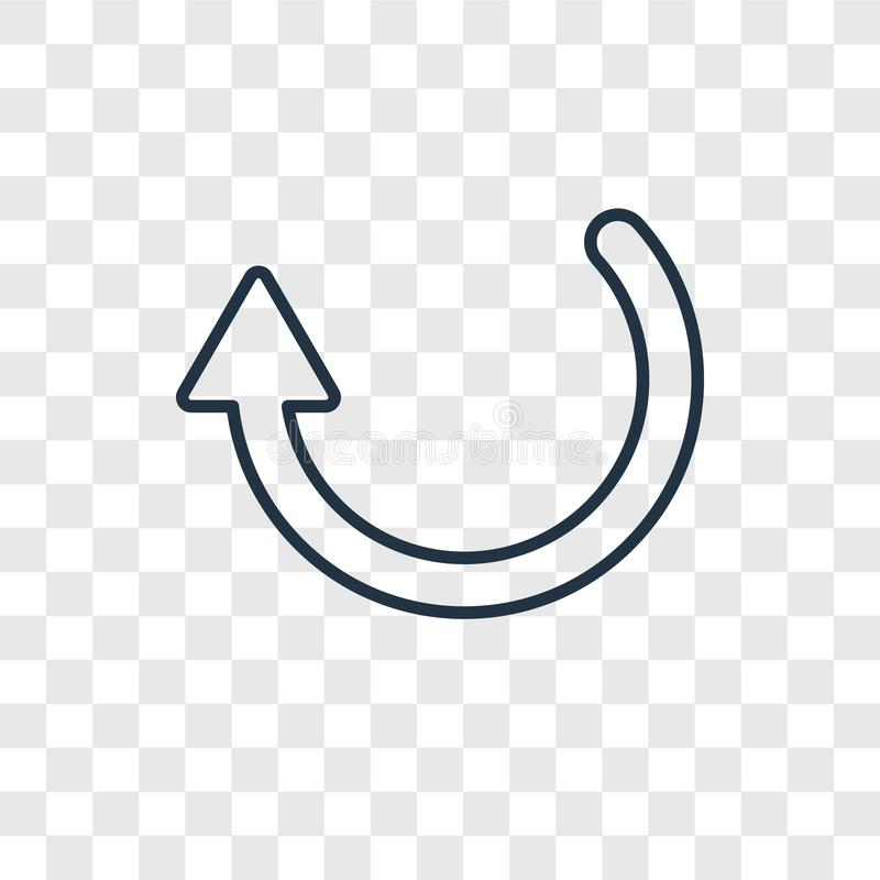 Icône linéaire de flèche de recharge de vecteur circulaire de concept d'isolement sur le tra illustration stock