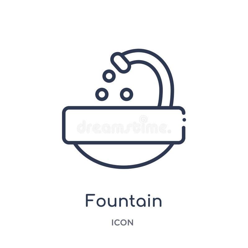 Icône linéaire de fontaine de collection d'ensemble d'éducation Ligne mince icône de fontaine d'isolement sur le fond blanc fonta illustration de vecteur