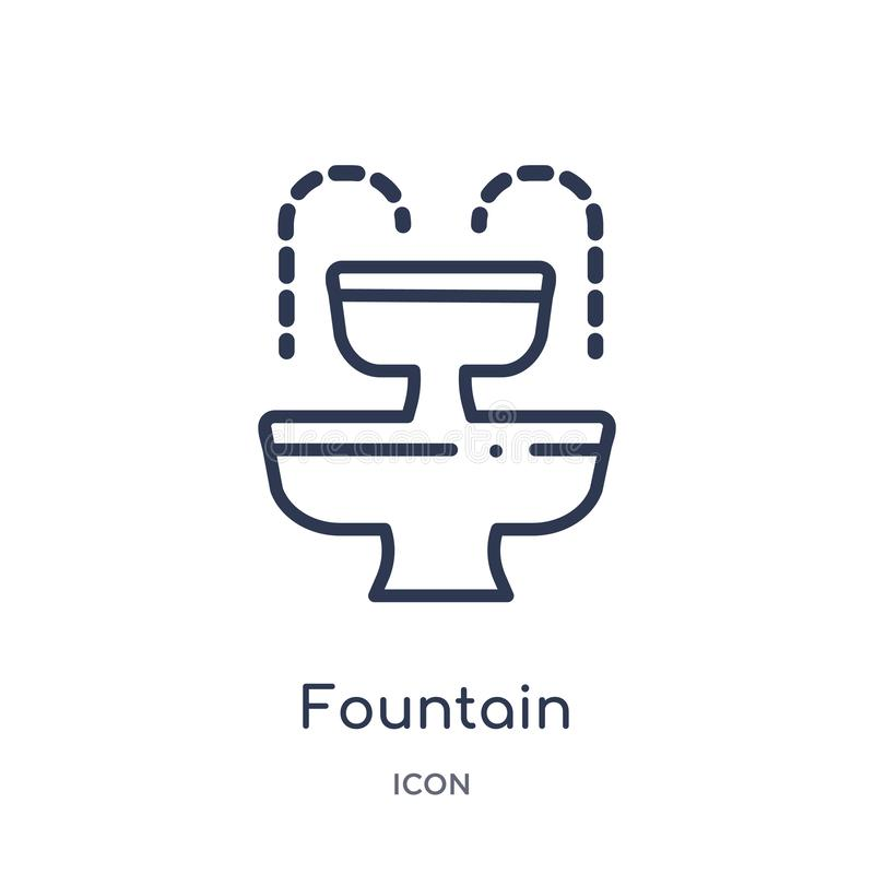 Icône linéaire de fontaine de collection d'ensemble d'éléments de ville Ligne mince vecteur de fontaine d'isolement sur le fond b illustration de vecteur