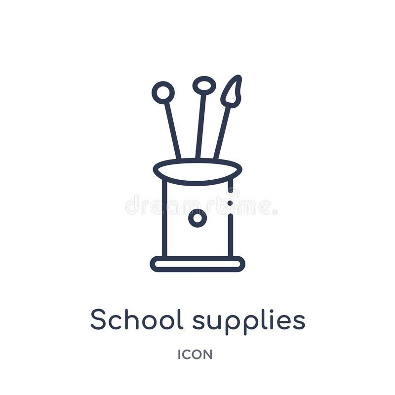 Icône linéaire de fournitures scolaires de collection d'ensemble d'éducation La ligne mince fournitures scolaires dirigent d'isol illustration de vecteur