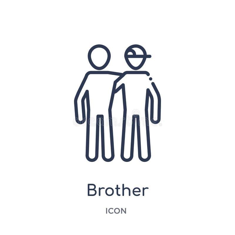 Icône linéaire de frère de collection d'ensemble de relations de famille Ligne mince vecteur de frère d'isolement sur le fond bla illustration libre de droits