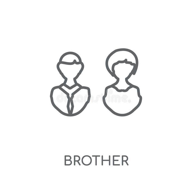 icône linéaire de frère Concept moderne de logo de frère d'ensemble sur le petit morceau illustration libre de droits