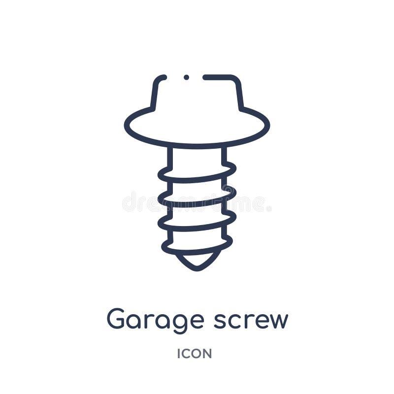 Icône linéaire de garage de collection d'ensemble d'outils de construction Ligne mince vecteur de garage d'isolement sur le fond  illustration de vecteur