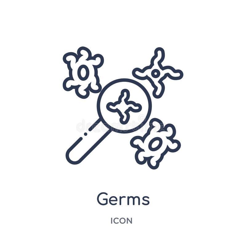 Icône linéaire de germes de la collection médicale d'ensemble Ligne mince icône de germes d'isolement sur le fond blanc illustrat illustration stock