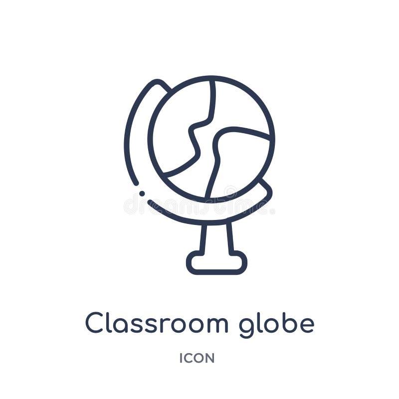Icône linéaire de globe de salle de classe de collection d'ensemble d'éducation Ligne mince icône de globe de salle de classe d'i illustration libre de droits