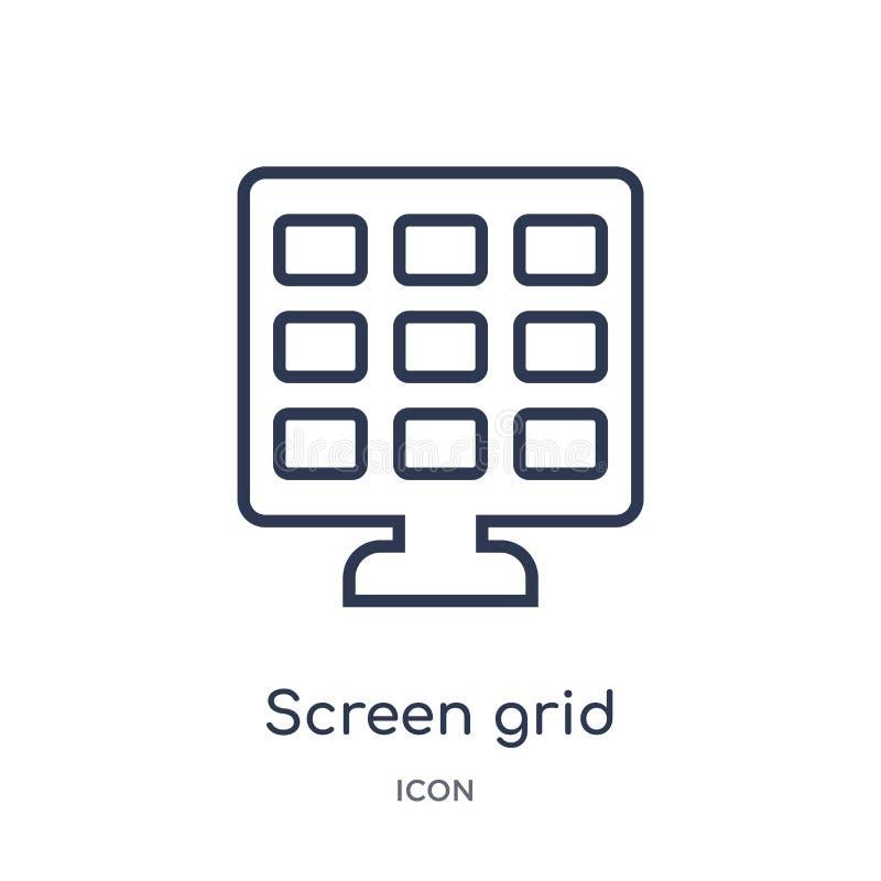 Icône linéaire de grille d'écran de la collection électronique d'ensemble de suffisance de substance Ligne mince vecteur de grill illustration stock
