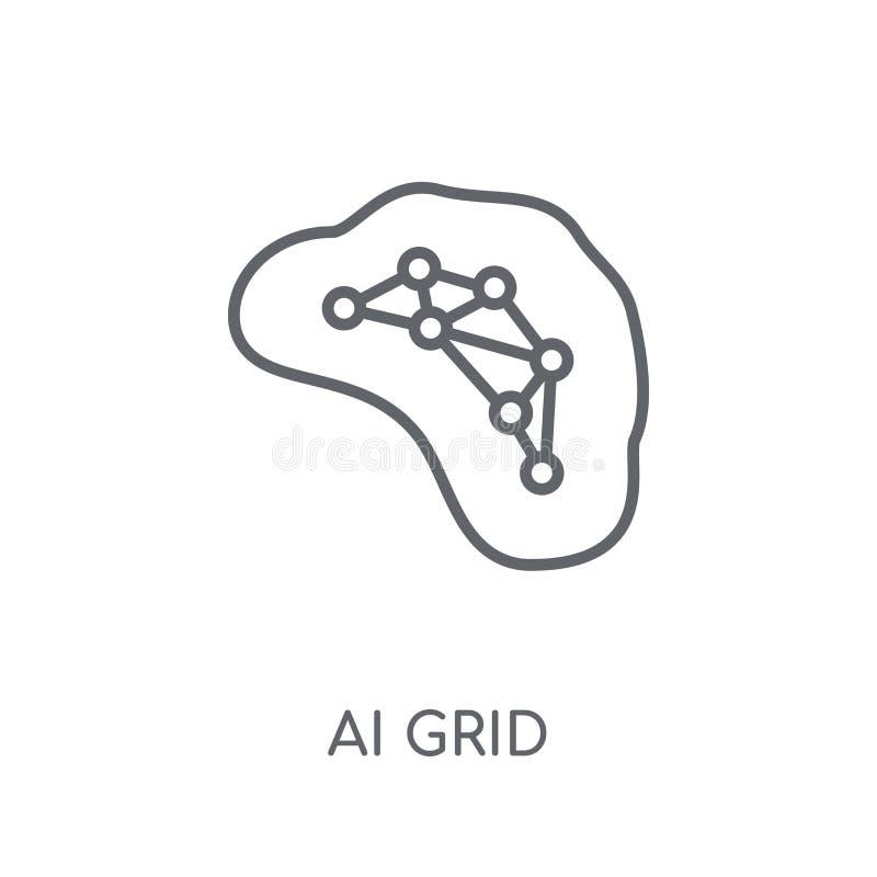 Icône linéaire de grille d'AI Concept moderne de logo de grille d'ensemble AI sur le petit morceau illustration de vecteur