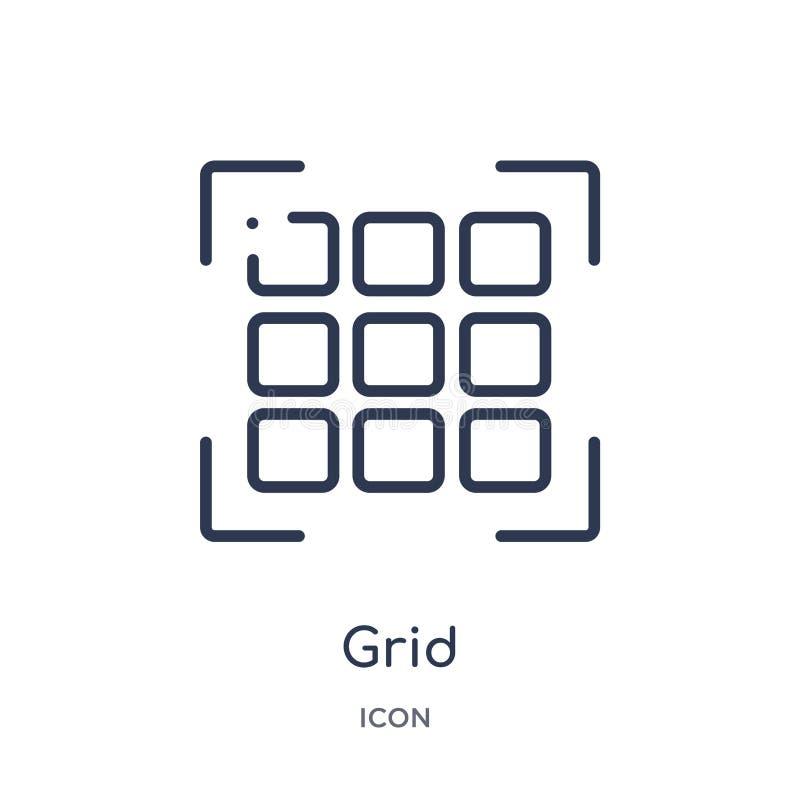 Icône linéaire de grille de la collection de processus créative d'ensemble Ligne mince vecteur de grille d'isolement sur le fond  illustration stock