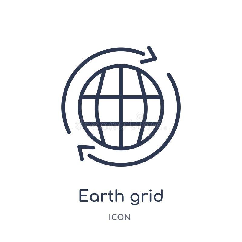 Icône linéaire de grille de la terre de la livraison et de la collection logistique d'ensemble Ligne mince vecteur de grille de l illustration de vecteur